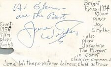 Autographs-original Movies Jane Withers Actress Singer Tv Movie Autographed Signed Index Card