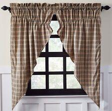 """63"""" L Drawstring Prairie Curtains Gray Tan Plaid Country Farmhouse Sawyer Mill"""