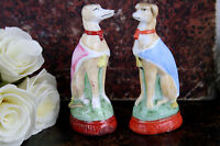 PAIR antique 19th c  Staffordshire porcelain greyhound whippet couple gorgeous!