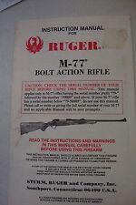 1988 RUGER MODEL M-77 Bolt action Rifle- INSTRUCTION MANUAL-Excellent- Free ship