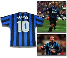 Maglia RONALDO 10 INTER 97 98 maglietta nero azzurra retro vintage da collezione