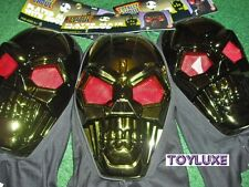 Halloween PLATED MASK With HOOD Totally Ghoul - Metallic Green Red Eyes Skeleton