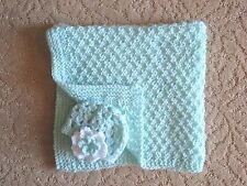 Crocheted Preemie Baby Blanket and hat-Handmade Mint Girls Baby Afghan and hat