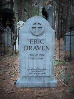 Evil Soul Studios LIFE SIZE Eric Draven Tombstone Engraved Halloween Prop Yard