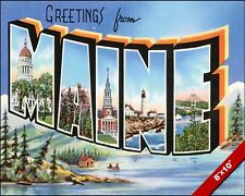 VINTAGE STATE OF MAINE USA VACATION TRAVEL AD POSTER ART REAL CANVAS PRINT