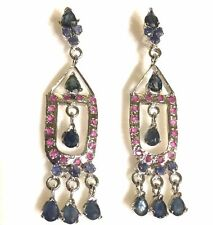 W12 Silver chandelier earrings with emeralds, sapphires & rubies Plum UK BOXED