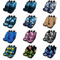 Fashion Butterfly Car Seat Covers Front&Rear Elastic Spandex Full Set for Women