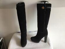 Miss Sixty Negro de cuero de gamuza la rodilla Botas altas – U.K.6 (39)