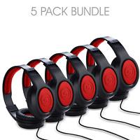 5 Pack Samson SR360 Over-Ear Dynamic Stereo Headphones