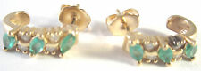 FINE JEWELRY 14K YELLOW GOLD LADIES EARRINGS WHITE DIAMONDS GREEN EMERALDS GIFT