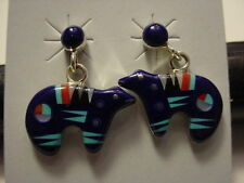 SOUTHWESTERN STERLING SILVER BLUE LAPIS MEDICINE BEAR EARRINGS (a)
