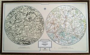 Map - Soberton, Hampshire then and now. Framed c1880 & c2000. Ordnance Survey