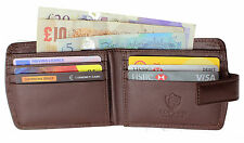 Topsum LONDON MEN'S LUXURY MEDAGLIA Pocket Premium Genuine Leather Wallet 4009 BROWN