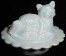 White milk carnival glass salt cellar / celt dip cat kitten on nest basket dish