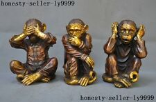 Collect Chinese purple Copper Gilt Feng shui auspicious three only monkey statue