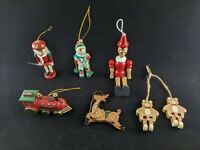 Christmas Wooden Ornaments: Nutcracker Snowman Pinocchio Reindeer Bear Train Vtg