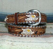 Vintage Tony Lama Brown Sheridan Tooled Leather Whipstitch Western Belt 30 New