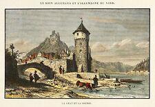 St GOARSHAUSEN-vue partielle avec château Katz-Durand-Kolor. Gravure sur bois 1865