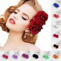 Ladies Bridal Flower Hair Comb Wedding Accessories Red Rose Hairpin Hair Jewelry