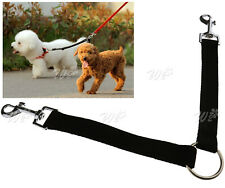 Coupler Leash 1 Lead Duplex 2 Way Double Dog Pet for Walking Black