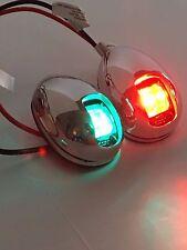 1 PAIR Red & Green Boat Vertical Mount 12V LED Navigation Lights Side Marker