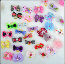10pcs Lot Assorted Pet Cat Dog Hair Bows with Rubber Bands Grooming Accessories