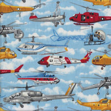 Helicopters Air Sea Rescue Military Transport Boys Quilting Fabric FQ or Metre *