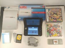 Nintendo 3DS XL Red & Black ORIGINAL BOX AND PAPERS + 3 GAMES & 4GB CARD.