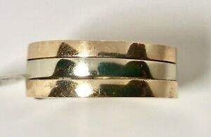Stunning NEW14K TWO TONE GOLD RING WEDDING BAND SIZE 9 1/2 9MM 15.7GRAM NO SCRAP