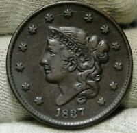 1837 Penny Coronet Large Cent 1C - Nice Coin, Free Shipping  (8800)