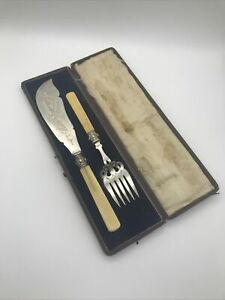 Antique A B Silver Plated Fish Serving Cutlery Set Boxed Flawed