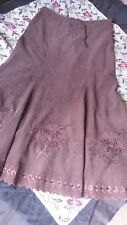 MISS SELFRIDGE BROWN Midi Maxi SKIRT Size 12 EU 38 Needlecord Cut out Design VGC