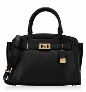 Michael Kors Bag Karson LG Satchel Leather Black New