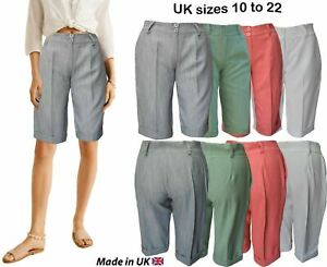 Womens shorts knee high Ladies Bermuda Summer Tailored Shorts vintage 90's plus