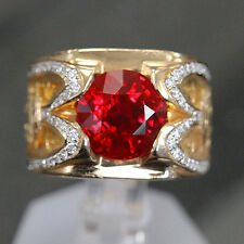 4.02 ct Huge Round Burma Pigeon Blood Ruby GRS , GIA  Custom Unique Mens Ring.