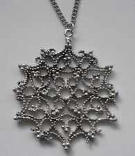 Chain Necklace #1515 Pewter LACEY SNOWFLAKE (45mm x 41mm) FILIGREE