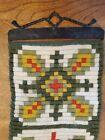 Norwegian Klokkestreng Bell Pull wool tapestry folk art motif, green/gold/red