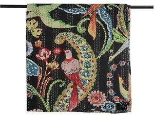 Cotton Coverlet Bohemian Throw Indian Handmade Kantha Quilt Queen Size Bedspread