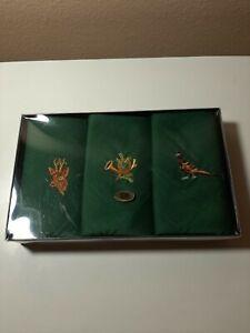 3 Vintage NIB Men's Handkerchiefs Linen Embroidered DEER PHEASANT HUNT Green