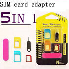 Universa 5 IN 1 Nano SIM Card to Micro Standard Adapter Converter Set for iPhone