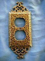 1 Ornate Floral Brass Tone Plated Metal Electrical Light Switch Plate Cover