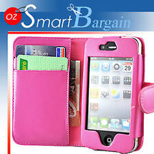 New PINK Wallet Leather Case Cover For iPhone 4G + Film