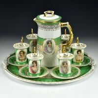 Austria Porcelain Portrait Chocolate Coffee Tea Set Higgins & Seiter