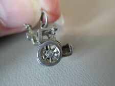 Carriage Moving Fob Charm Pendant Old Vintage English Sterling Silver Hansom Cab