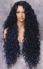 Lace Front Wig Exotic Extra Long Full Tight Curly Blue Black Mix Heat Safe DOM