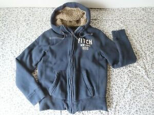 ABERCROMBIE & FITCH MENS Large SHERPA LINED HOODIE SWEATSHIRT BLUE