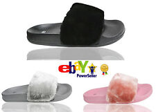 KIDS GIRLS SUMMER SLIDER FUR MULE COMFY RIHANNA SLIPPERS SANDALS SHOE SIZE 10-2