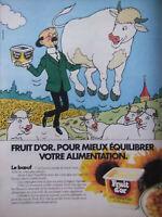 PUBLICITÉ DE PRESSE 1983 FRUIT D'OR - LE BOEUF - PROFESSEUR TOURNESOL TINTIN