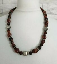 Brown Beaded Necklace Silver Carved Beads Costume Jewellery Plastic