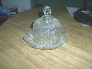 CRYSTAL CUT GLASS BUTTER  DISH~VINTAGE